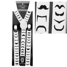 NEW Punk Goth Multi Mustache Design Stache SUSPENDERS