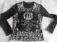 LOUISE FD schönes Langarmshirt schwarz m. Silberdruck Gr. L NEUw. ZC3