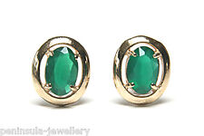 9ct Gold Green Agate Oval Stud earrings Gift Boxed Studs Made in UK