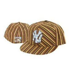MLB New York Yankees Hat Cap Mode Fitted Brown Fashion Stripes Cooperstown