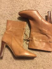 Michael Kors Leather Mid Calf High Heeled Boots Lace Detail 8M Italy EUC L@@K!