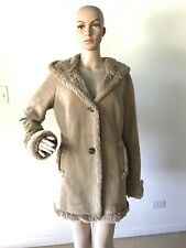Jones NY Tan Brown Faux Suede Hooded Coat Jacket Fur Lining and Trim Buttoned M