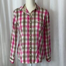 Gerry Weber Women's Plaid Shirt Long Sleeve Size 6 Pink White Brown Casual Top