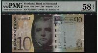 2007 SCOTLAND BANK OF SCOTLAND10 POUNDS PMG 58 EPQ CHOICE ABOUT UNC SN AE708943
