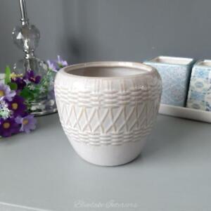 Natural Interiors Woven Design Beige Ceramic Plant Pot
