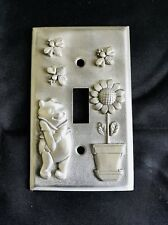 CUSTOM PEWTER WINNIE THE POOH FLOWER BEES NURSERY KIDS LIGHT SWITCH PLATE COVER