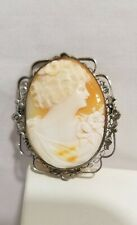 Vintage sterling silver Cameo brooch silver filigree carved shell