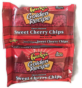 Cold Packaging 2 BAGS Of Gurley's Cherry Flavored Sweet Cherry Baking Chips 10oz