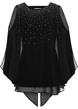 Damen Shirt schwarz Bluse mit Schmucksteinen 34 36 38 40 42 44 46 48 50 neu 851