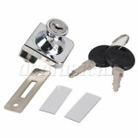 Silver Tone Cabinet Show Case Display Glass Door Lock With Two Keys and Screws