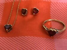 10k Yellow Gold Heart Shaped Ruby & Diamond 3 Piece Set