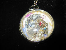 BETSEY JOHNSON PATINA CLOSED ROUND LOCKET STYLE W/CHARMS LONG NECKLACE