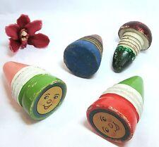 Ancien jouets en bois 4 toupie, champignon, ficelle Toupie Spinning Seiffen?/at 508