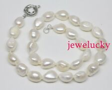 Genuine 11mmx14mm white baroque pearl beads necklace 17 inches jewelry handmade