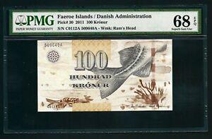 Faeroe Islands/Danish Admin. 2011 - 100 Kronur P#30 PMG 68 EPQ
