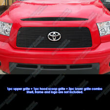 Fits 2007-2009 Toyota Tundra Logo Show W/ Hood Scoop Black Billet Grille Combo
