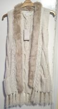 Monsoon Charlotte Neutral Chunky Knit Gilet Cardigan Faux Fur Bnwt Size S / M