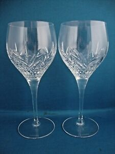 2 x Royal Doulton Crystal Ascot Cut Pattern Water Goblets - Signed