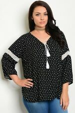 WOMEN'S PLUS SIZE BLACK AND IVORY BOHO INSPIRED TIE FRONT TOP W/TASSEL 3XL NWT