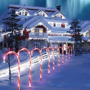 UK 10Pcs Christmas Candy Cane Pathway Marker Lights USB/Solar Street Yard Decor