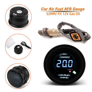 2'' 52MM Auto Car Air Fuel Ratio Gauge O2 Sensor AFR Racing Meter Monitor Blue