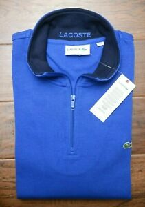 Lacoste SH1462 Men's 1/4 Zip Mock Neck Blue 100% Cotton Sweat Sweater 4XL 9