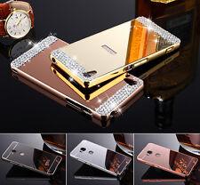 Bling Diamant Metall Spiegel Bumper Case Handy Tasche SchutzHülle Für Huawei
