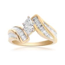 1.50 Carat Marquise/Baguette Cut Diamond Engagement Ring 14K Yellow Gold