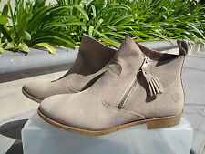 Tamaris CIGARRA Perforated Ankle Booties in Beige Suede, Women's Size 40 = US9