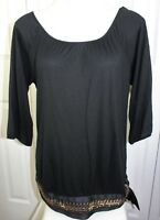 Womens Size XL The Limited Banded sequin waist peasant style blouse top shirt