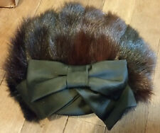 Womens Vintage Dark Brown Mink Fur Hat w/ Bow Originals by Mr. Sol Retro Fashion