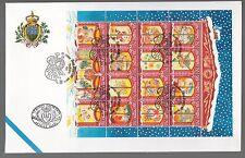 San Marino 1996 FDC UFFICIO FILATELICO  Foglietto Natale ANNULLO SPECIALE