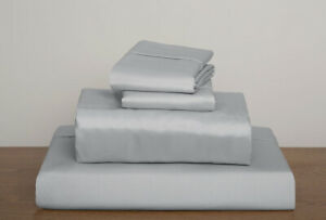 Premium Egy. Cotton 1200 TC Duvet Set + Fitted Sheet Light Gray Solid All Sizes