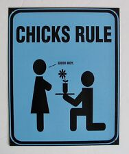 Chicks Rule Tin Metal Sign Blue Black Kids Teens Girls Womans Ladies Home Decor