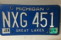 VINTAGE MICHIGAN LICENSE PLATE - NXG-451 - GREAT LAKES - JAN 2000 TAG