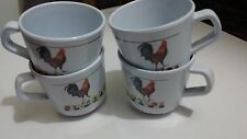 4 Pc. Set Plastic Rooster Coffee cups / Mugs Sunflowers,Tomatoes,Pears & Leaves