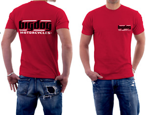 BIG DOG MOTORCYCLES 2X-LARGE T SHIRT RED W/ WHITE SIGNATURE LOGO FRONT/BACK