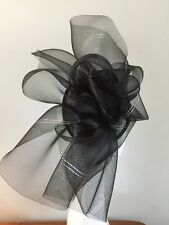 designer black silver ladies fascinator hat wedding prom
