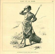 Gravure ancienne 1885 la pêcheuse de crevettes dessin de Mouchot issue du livre