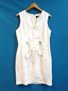 R&M Richards White Party Dress Floral Brocade Sleeveless Shift Dress Size M/L