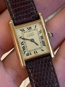 Vintage Must de Cartier Paris 925 Argent Plaque Gold 20M Working Well!!