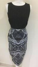 Portmans Skirt Pencil Style Geometric Print Grey Size  S 8 -10
