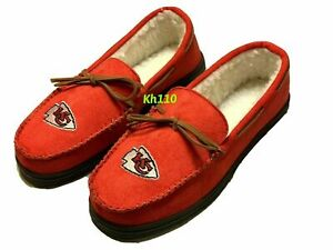 NFL Kansas City Chiefs Men's Colored Moccasin Hard Slippers-New