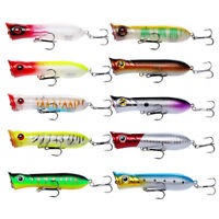 10pcs Popper Fishing Lure Topwater Surface Floating Crankbait Bass Pike Tackle