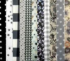 Lot de 12 coupons tissu patchwork 20x20cm Tons Gris/Blanc/Noir