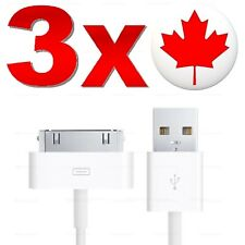 LOT OF 3 Charger Cable For APPLE iPhone 3G 3GS 4 4S iPad 2 iPod Touch 30 Pin