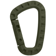 TACTICAL ABS CARABINER HOOK D-SHAPED TAC LINK KEYRING HANG CONNECTION CLIP OLIVE