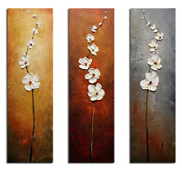 Original Oil Painting on Canvas Home Decor Wall Art Pictures Flowers Brown Gray