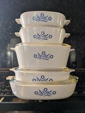 5 Piece Cornflower Vintage Corning Ware With 4 Lids