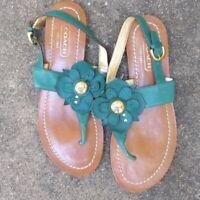 Coach Green Flower Thong Sandals Size 8